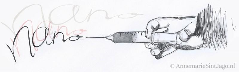 Illustratie van een injectiespuit met nanodeeltjes