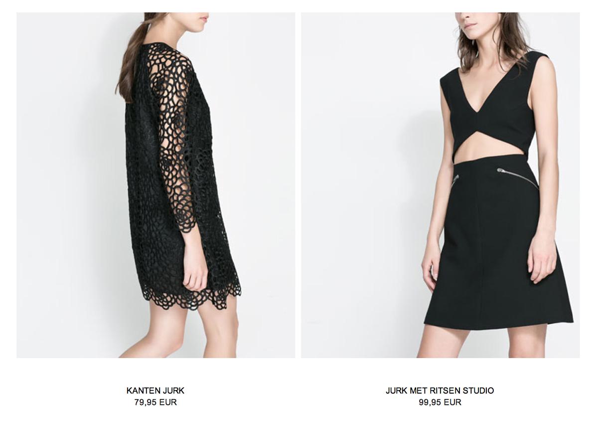 Kanten jurk zwart zara